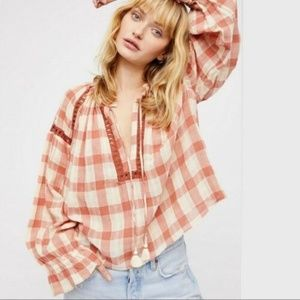 New Free People Honey Grove Gingham Top Retail $98